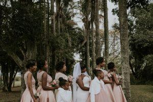 Blush Lace Bridesmaids | Credit: Thunder & Love