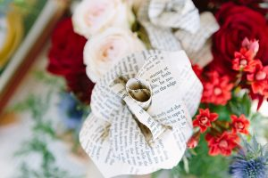 Book Page Paper Rose Centerpiece | Credit: Andries Combrink & Runaway Romance