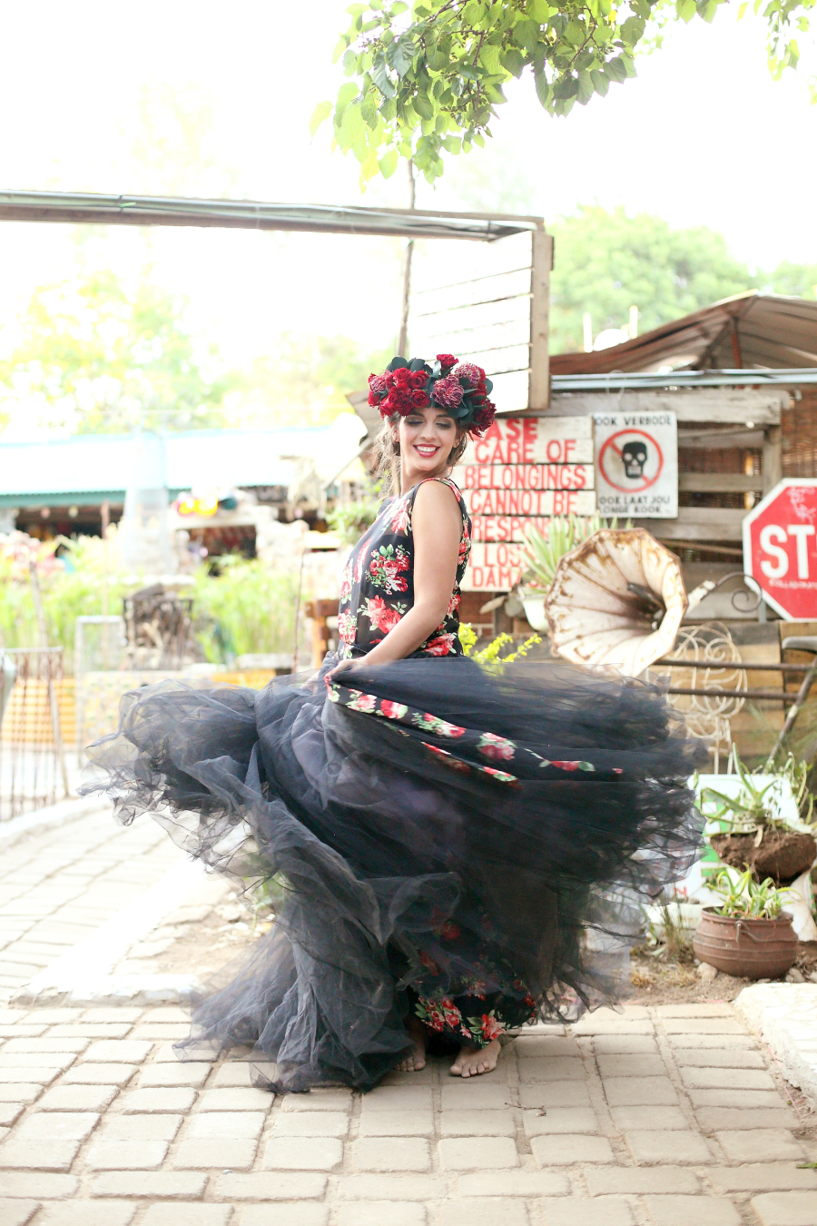 Black Floral Print Wedding Dress with Tulle Skirt | Credit: Hello Love Photography
