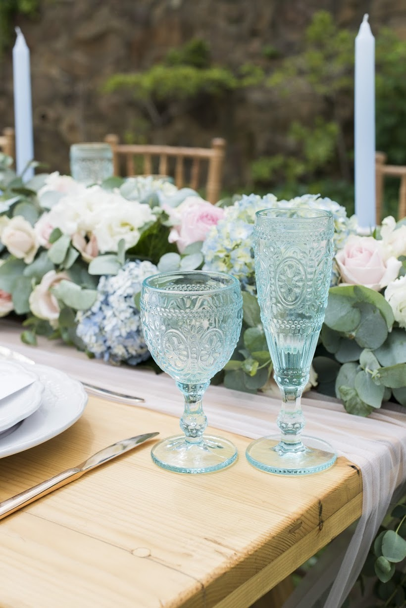 Colored Glassware | Credit: Jack & Jane Photography