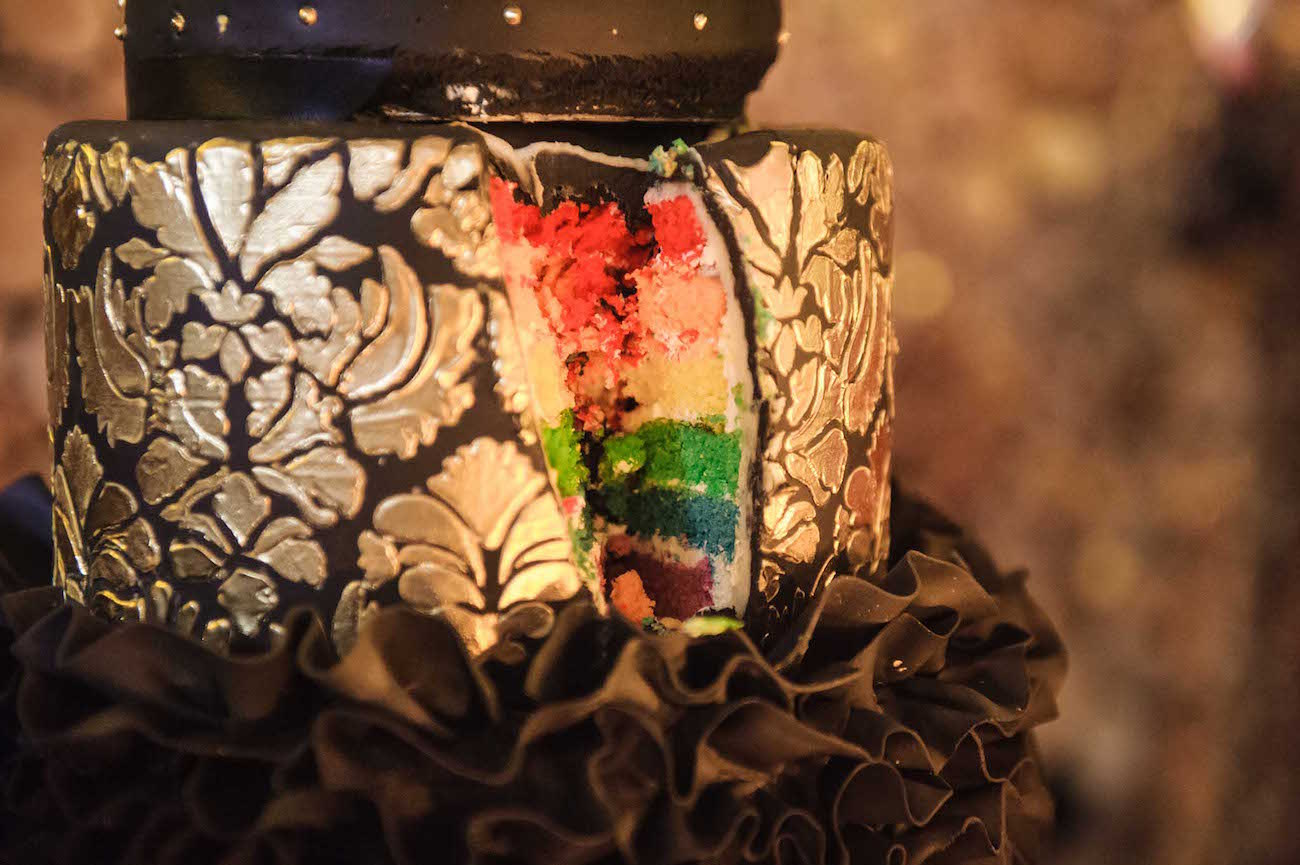 Rainbow Flag Wedding Cake   Credit: Vizion Photography