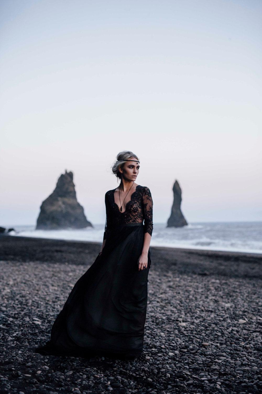 Whimsical Ethereal Black Lace Wedding Dress