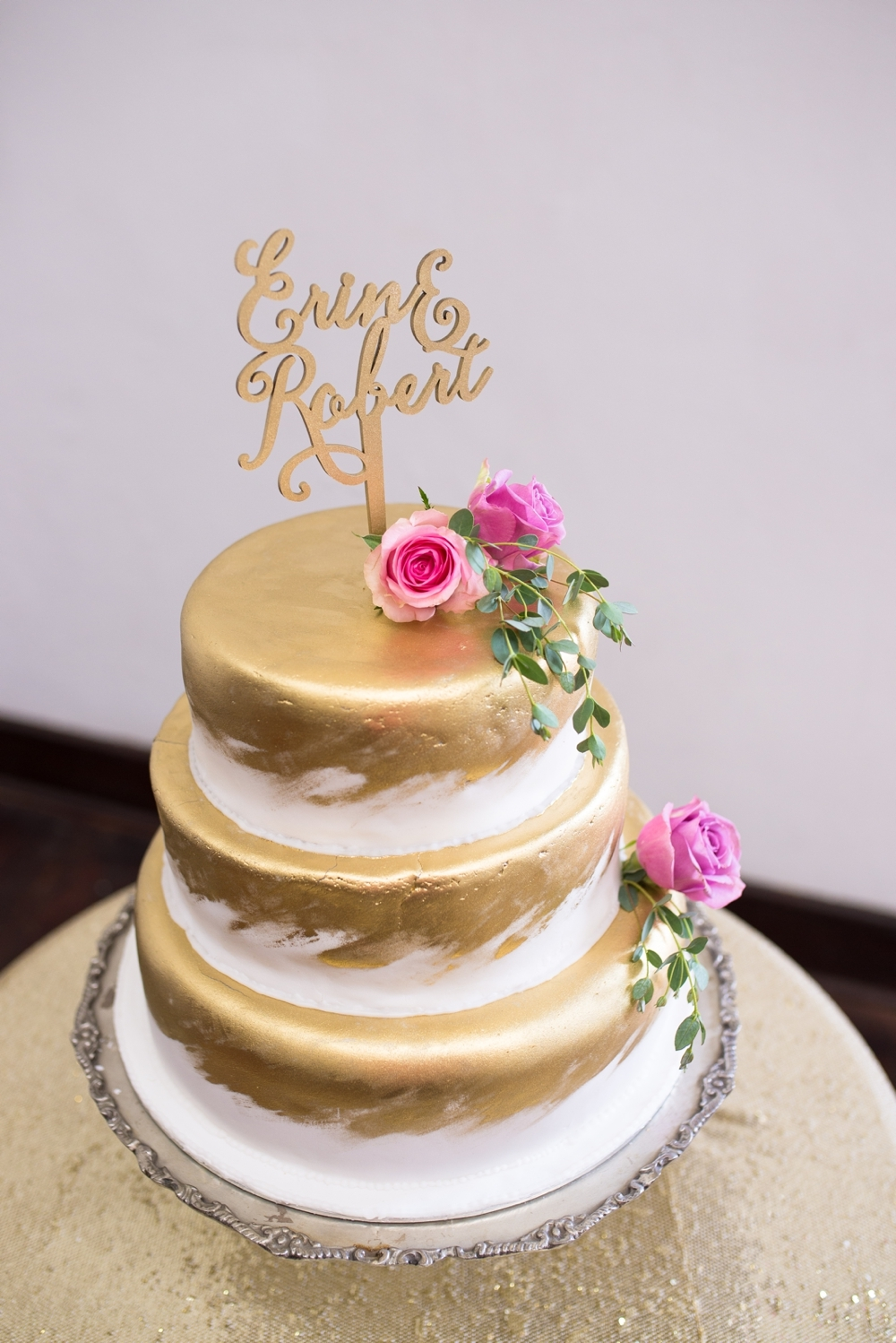 Metallic Gold Wedding Cake | Credit: Cheryl McEwan