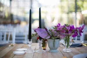 Tablescape with Black Candles | Credit: Karina Conradie
