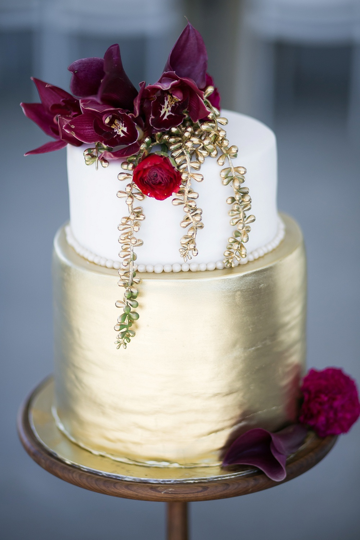 Metallic Gold Wedding Cake | Credit: Karina Conradie