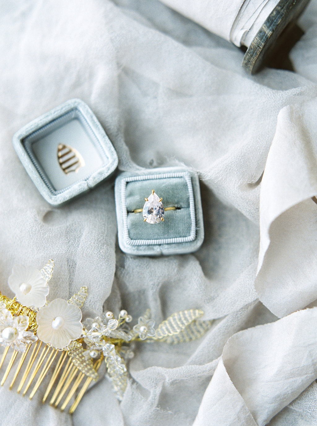 Blue Ring Box with Pear Shaped Diamond | Credit: Courtney Leigh