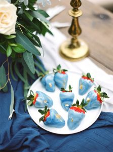 Blue Marbled Chocolate Strawberries| Credit: Courtney Leigh