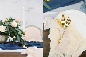 Blue & Gold Table Decor | Credit: Courtney Leigh
