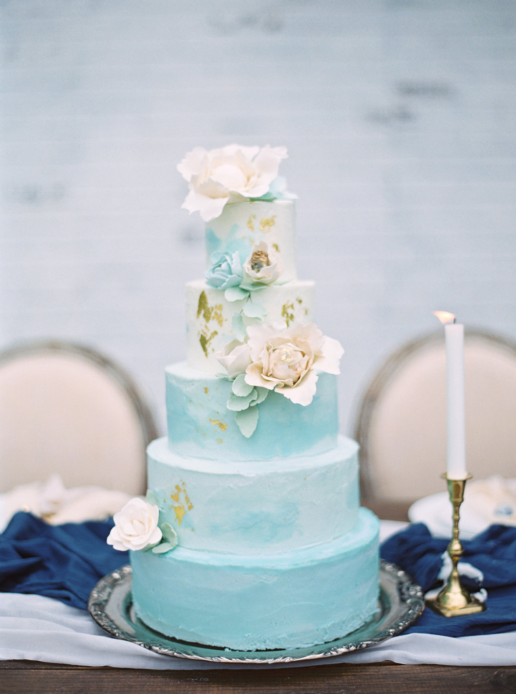 Blue Marble Wedding Cake   Credit: Courtney Leigh