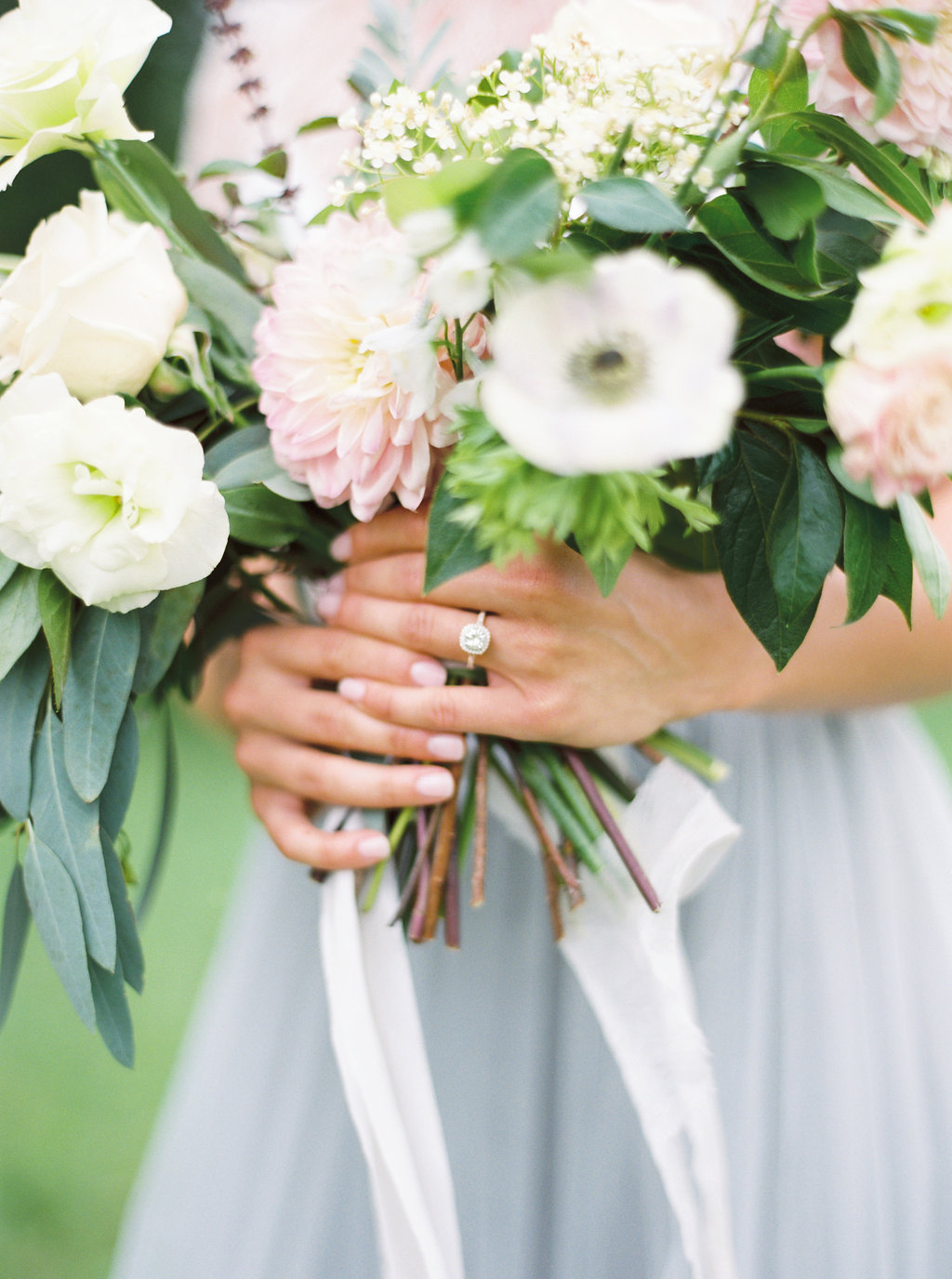 Halo Engagement Ring and Pastel Bouquet | Credit: Courtney Leigh