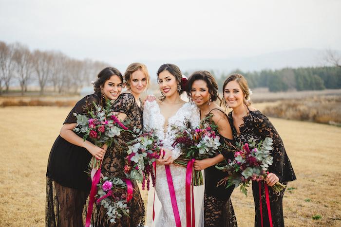 Jewel Tone Bouquets with Ribbon Ties   Credit: Roxanne Davison