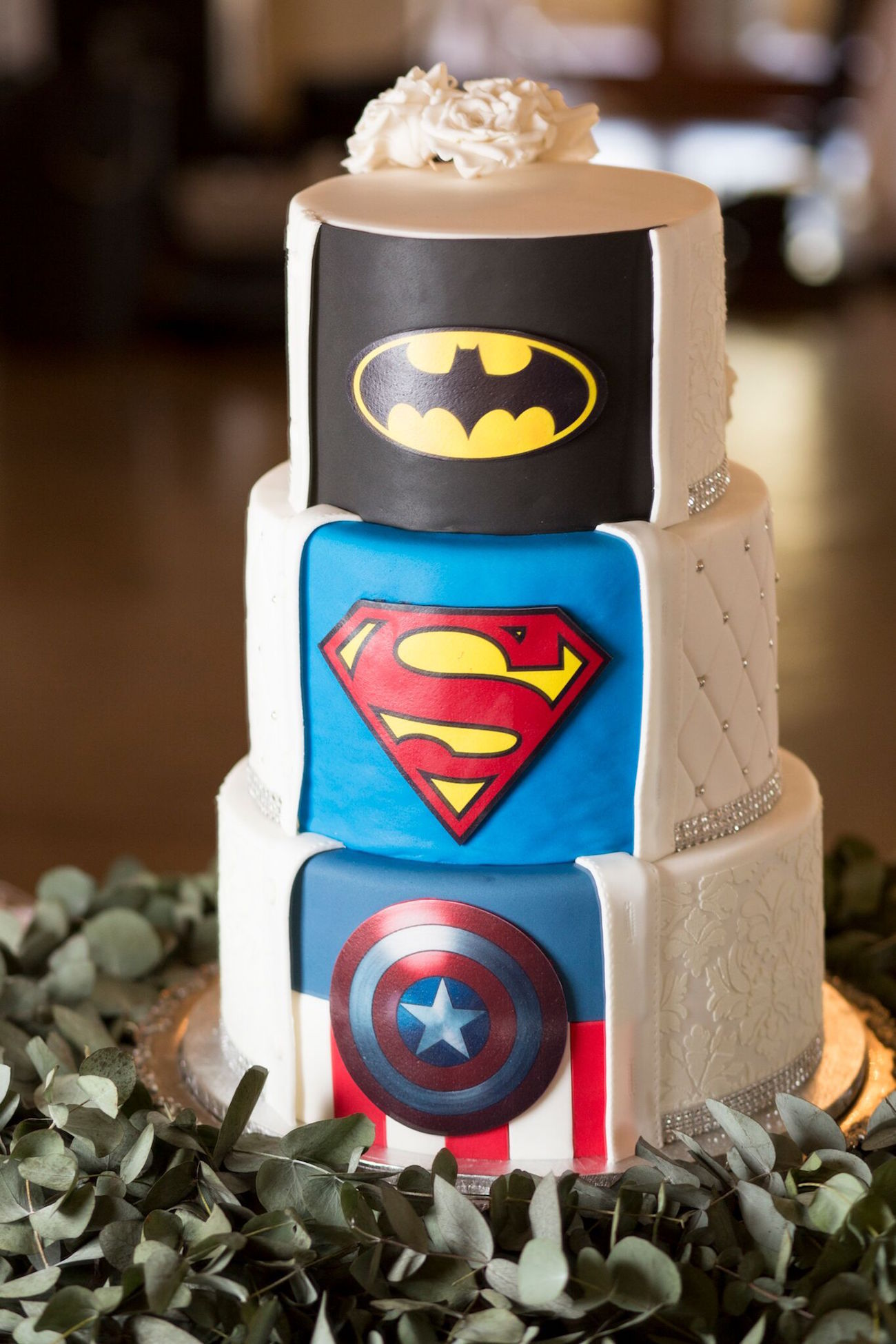 Superhero Surprise Wedding Cake Batman Superman Captain America | Image: Daniel West