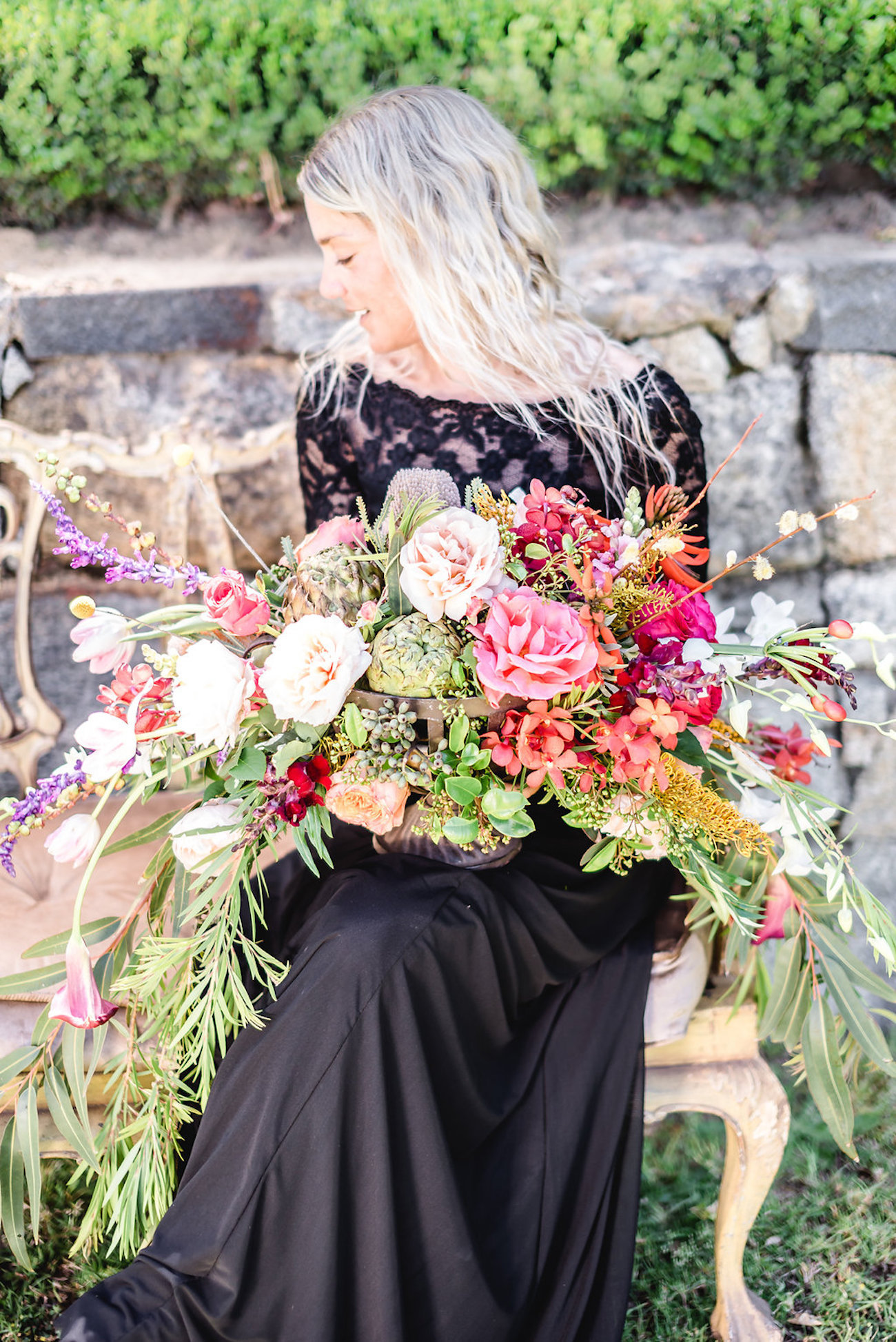 Lush Colorful Bouquet | Credit: Jacoba Clothing/PhotoKru