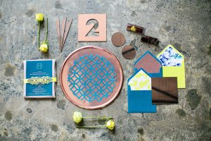 Copper Blue and Yellow Invitation Suite | Credit: Wedding Concepts & Tyme Photography