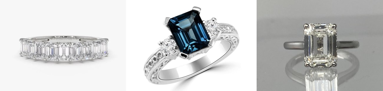 emerald cut Engagement Rings from Etsy