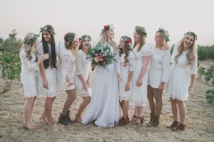 Flower Crown Bridesmaids | Credit: Vicky Bergallo