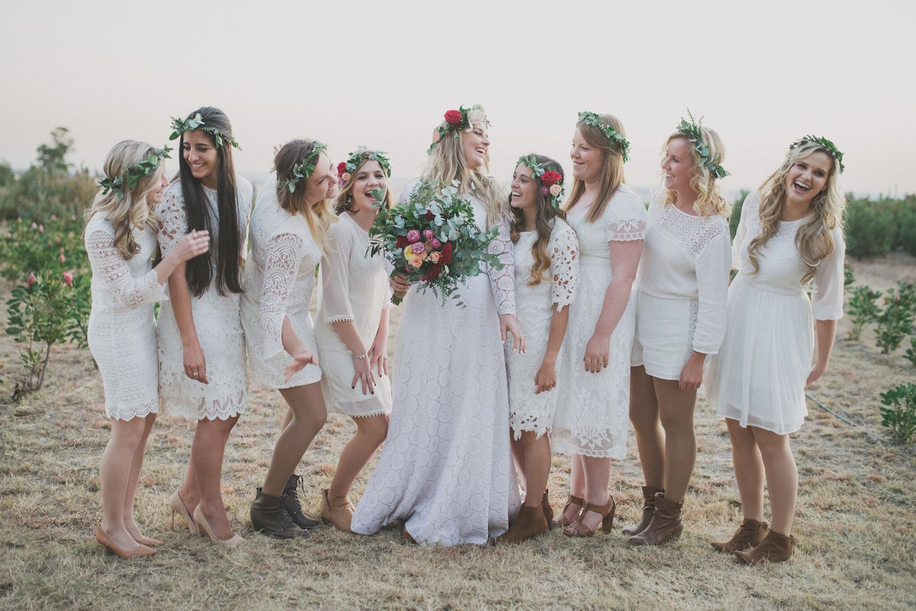Mismatched White Lace Bohemian Bridesmaid Dresses