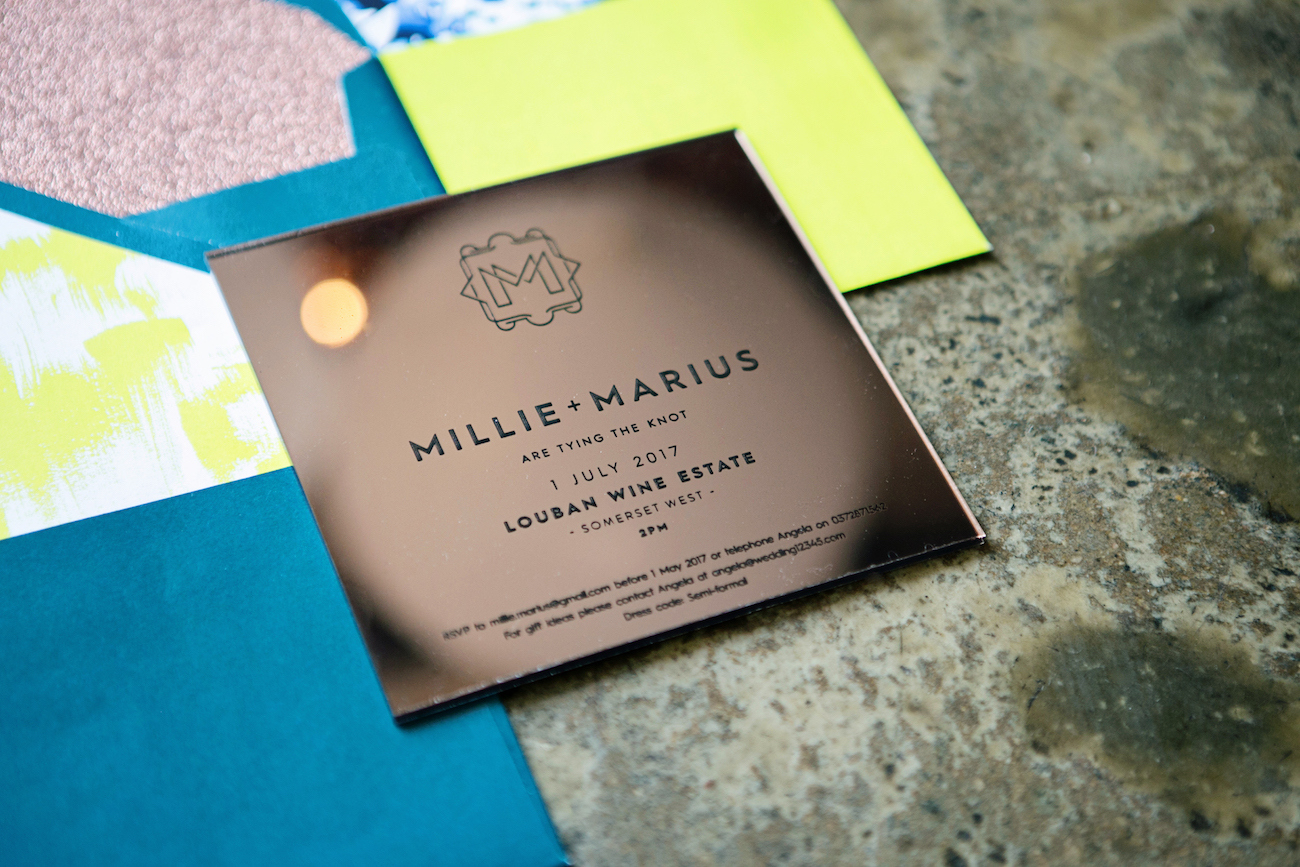Neon & Copper Wedding Invitation Suite | Credit: Wedding Concepts & Tyme Photography