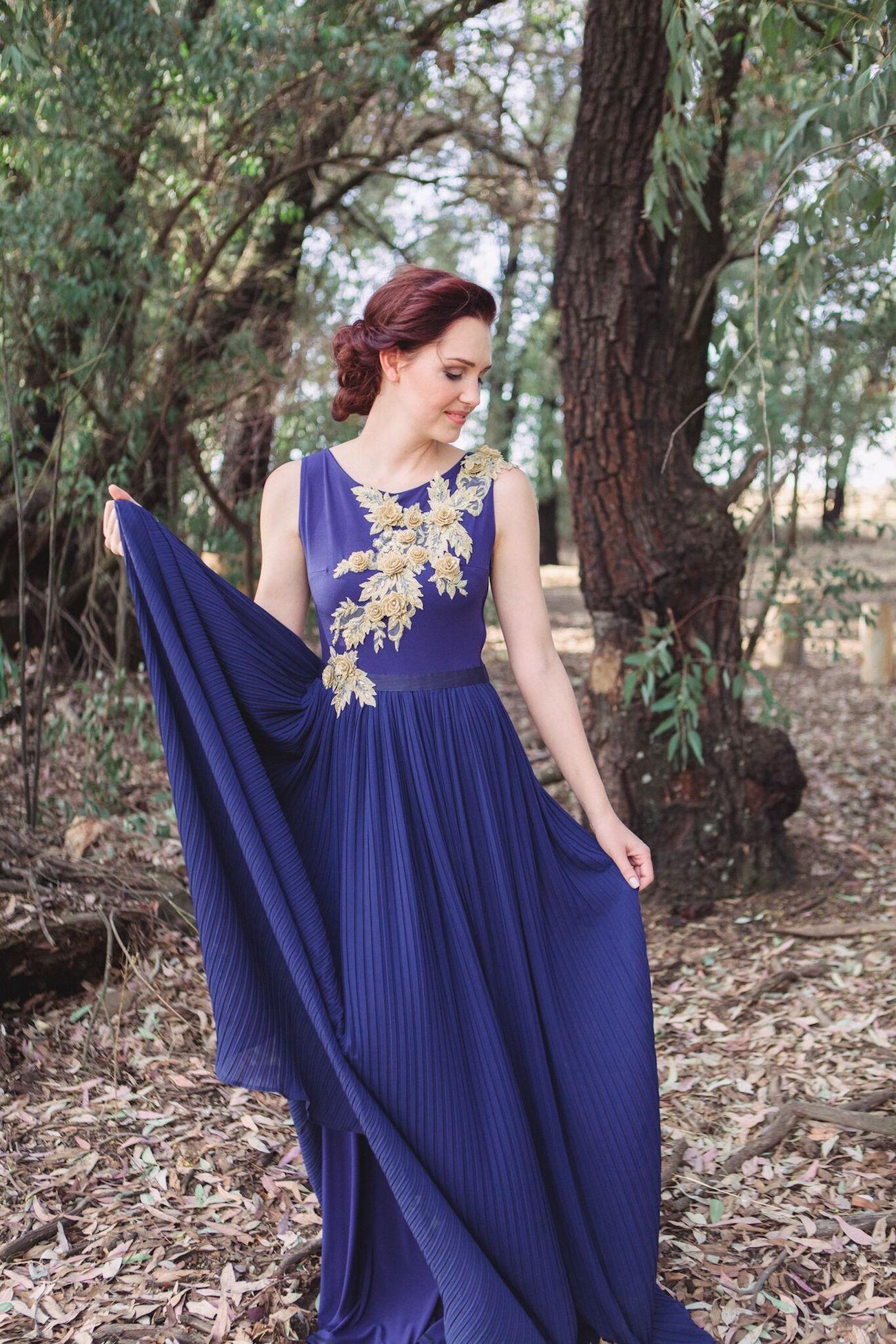 Indigo Blue Wedding Dress   Credit: Dust & Dreams Photography