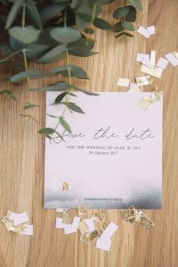 Grey Watercolor Ombre Save the Date | Credit: Dust & Dreams Photography
