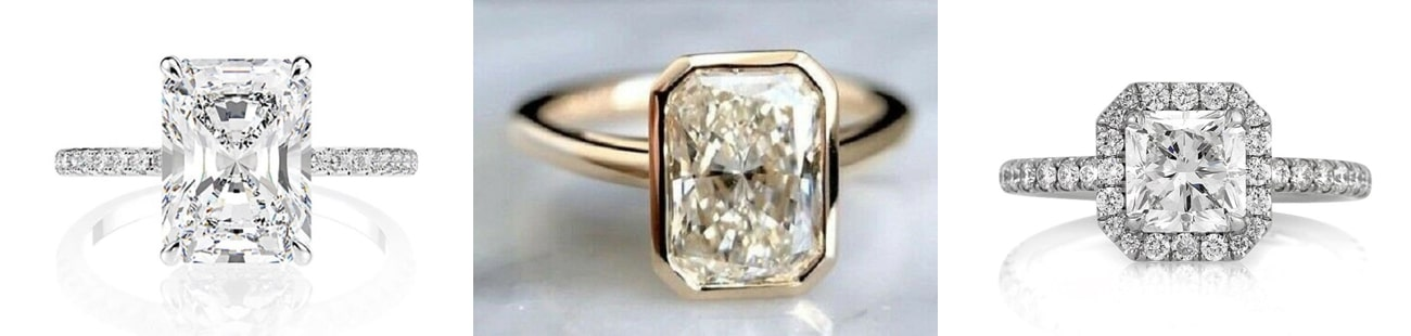 radiant cut Engagement Rings from Etsy