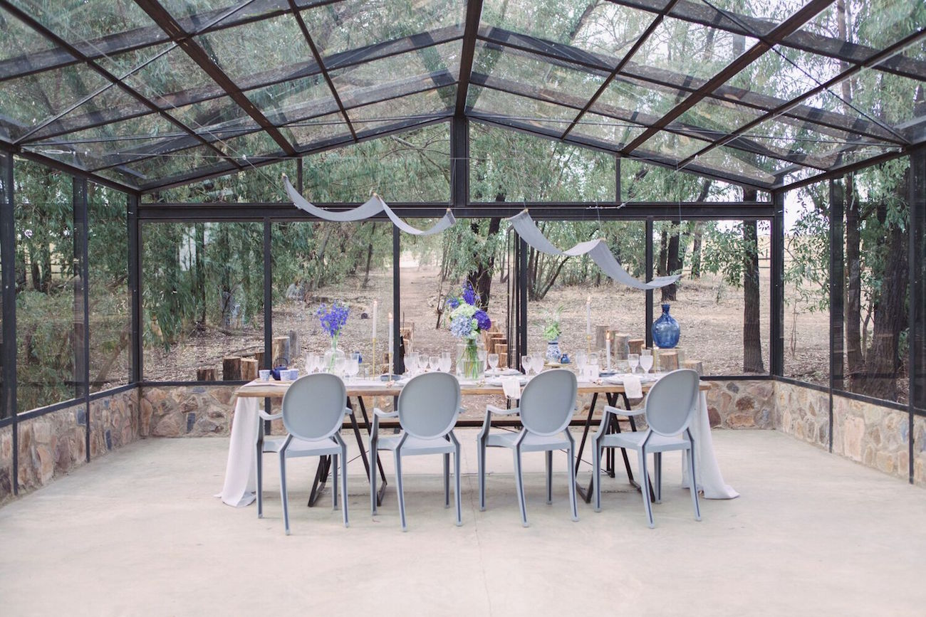 Rustic Indigo Wedding Reception Decor | Credit: Dust & Dreams Photography