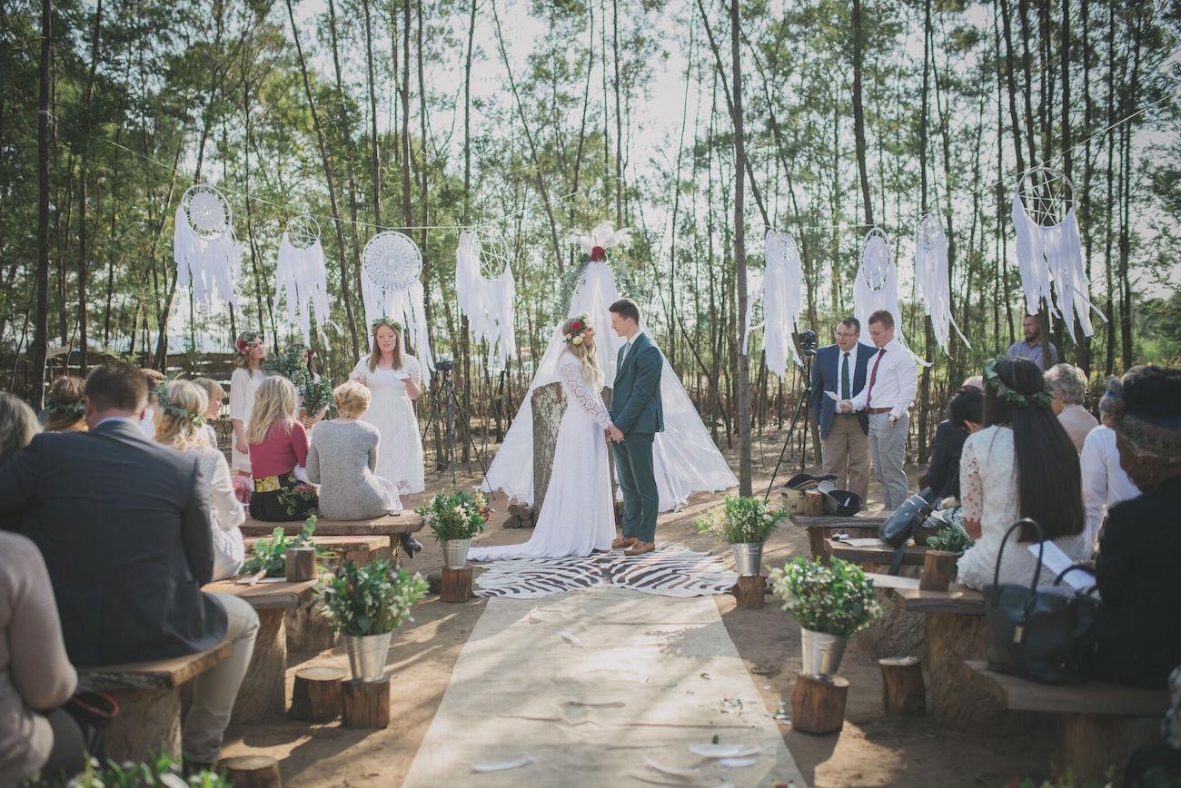 Boho Forest Wedding Ceremony | Credit: Vicky Bergallo