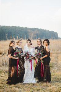 Black Lace Bridesmaid Dresses | Credit: Roxanne Davison