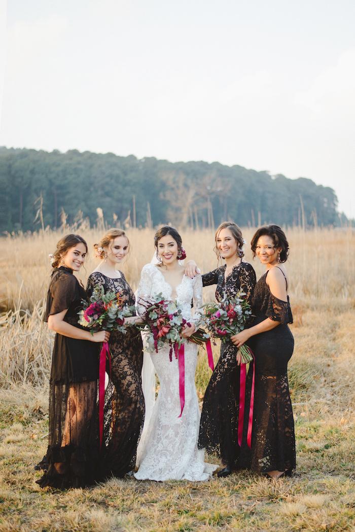 Black Lace Bridesmaid Dresses   Credit: Roxanne Davison
