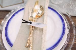 Gold Flatware Place Setting | Credit: Dust & Dreams Photography