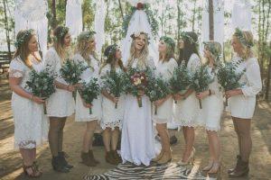 Boho Lace Bridesmaid Dresses   Credit: Vicky Bergallo