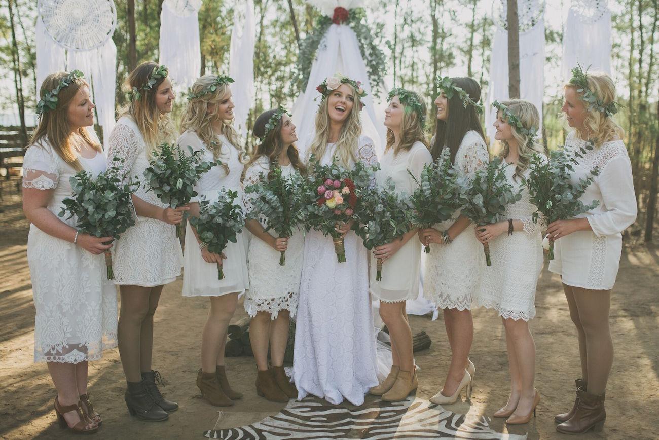 Boho Lace Bridesmaid Dresses | Credit: Vicky Bergallo