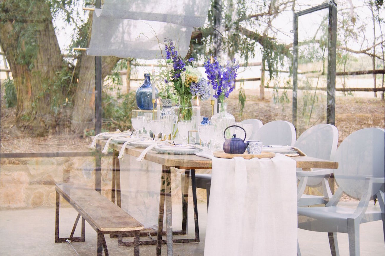 Indigo Blue Eclectic Tablescape | Credit: Dust & Dreams Photography