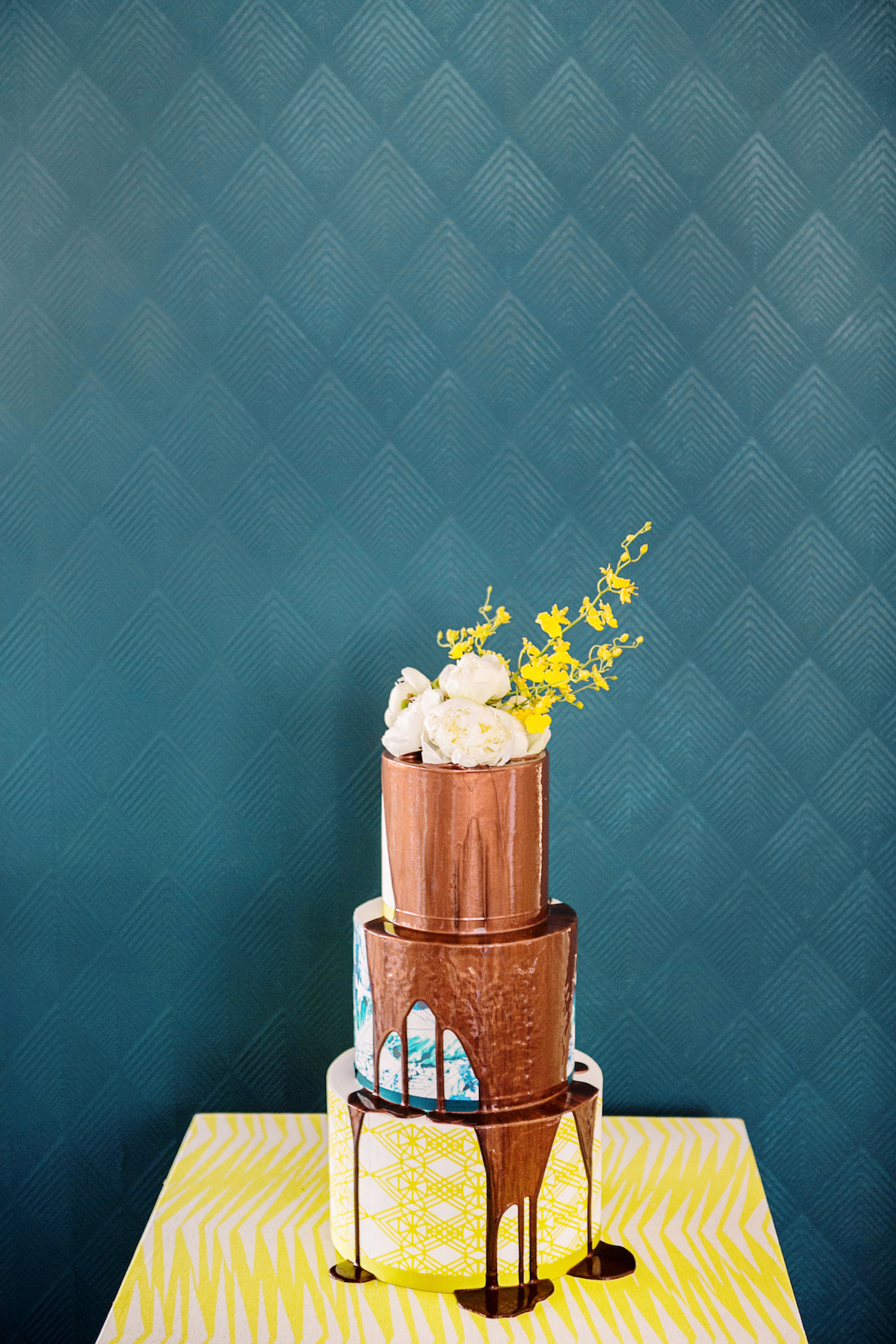 Copper Drip Cake   Credit: Wedding Concepts & Tyme Photography
