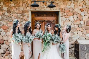 Bridesmaids with Greenery Bouquets | Image: Carla Adel