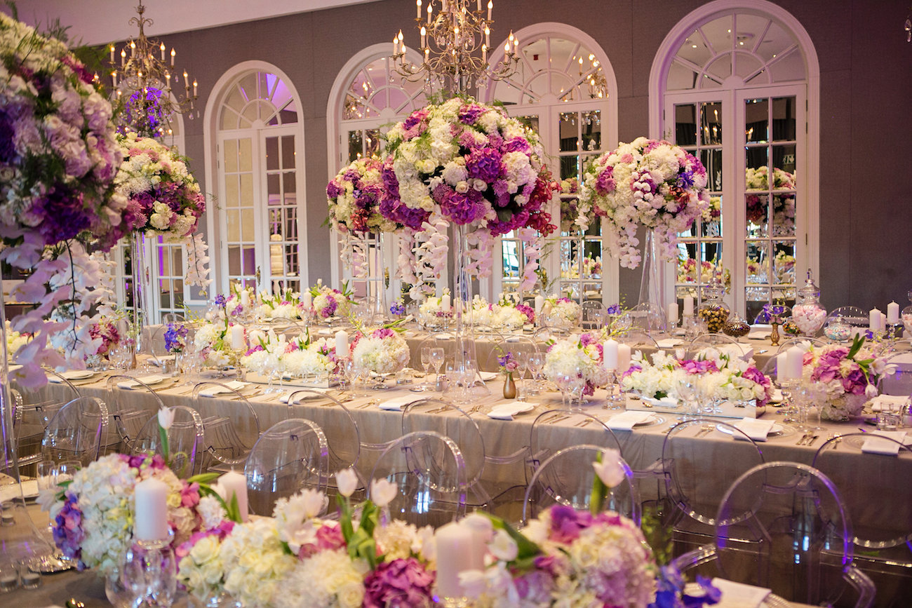 Luxurious Floral Wedding Reception | Credit: Tyme Photography & Wedding Concepts