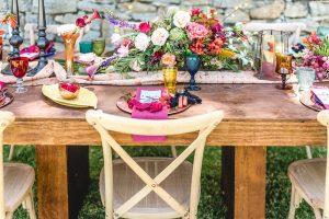 Colorful Floral Tablescape | Credit: Jacoba Clothing/PhotoKru