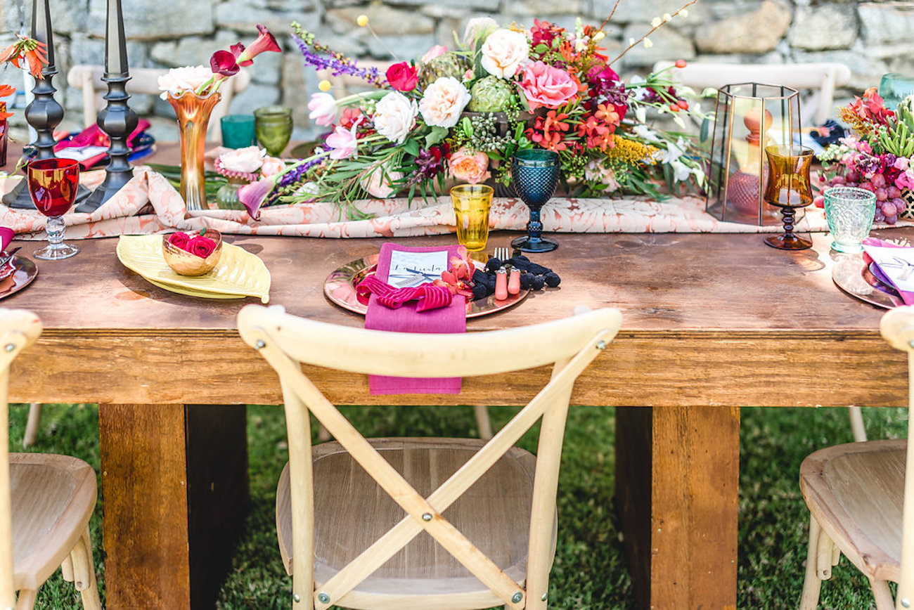 Colorful Floral Tablescape | Credit: Jacoba Clothing/PhotoKru