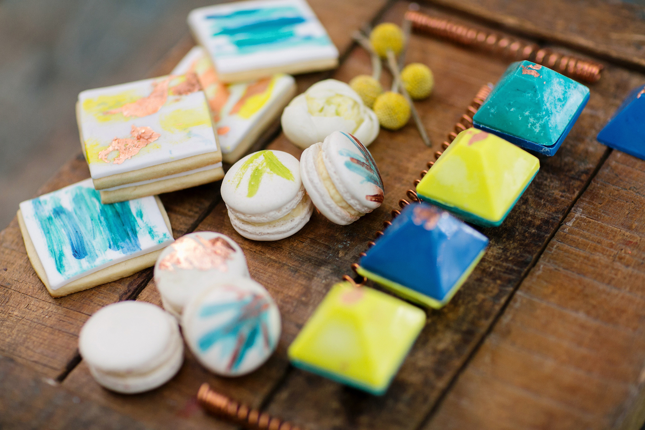 Neon and Copper Macarons   Credit: Wedding Concepts & Tyme Photography
