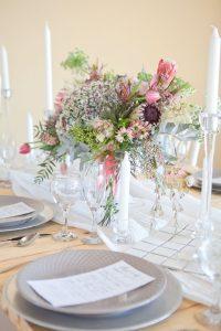 Romantic Protea Table Decor | Image: Corette Faux