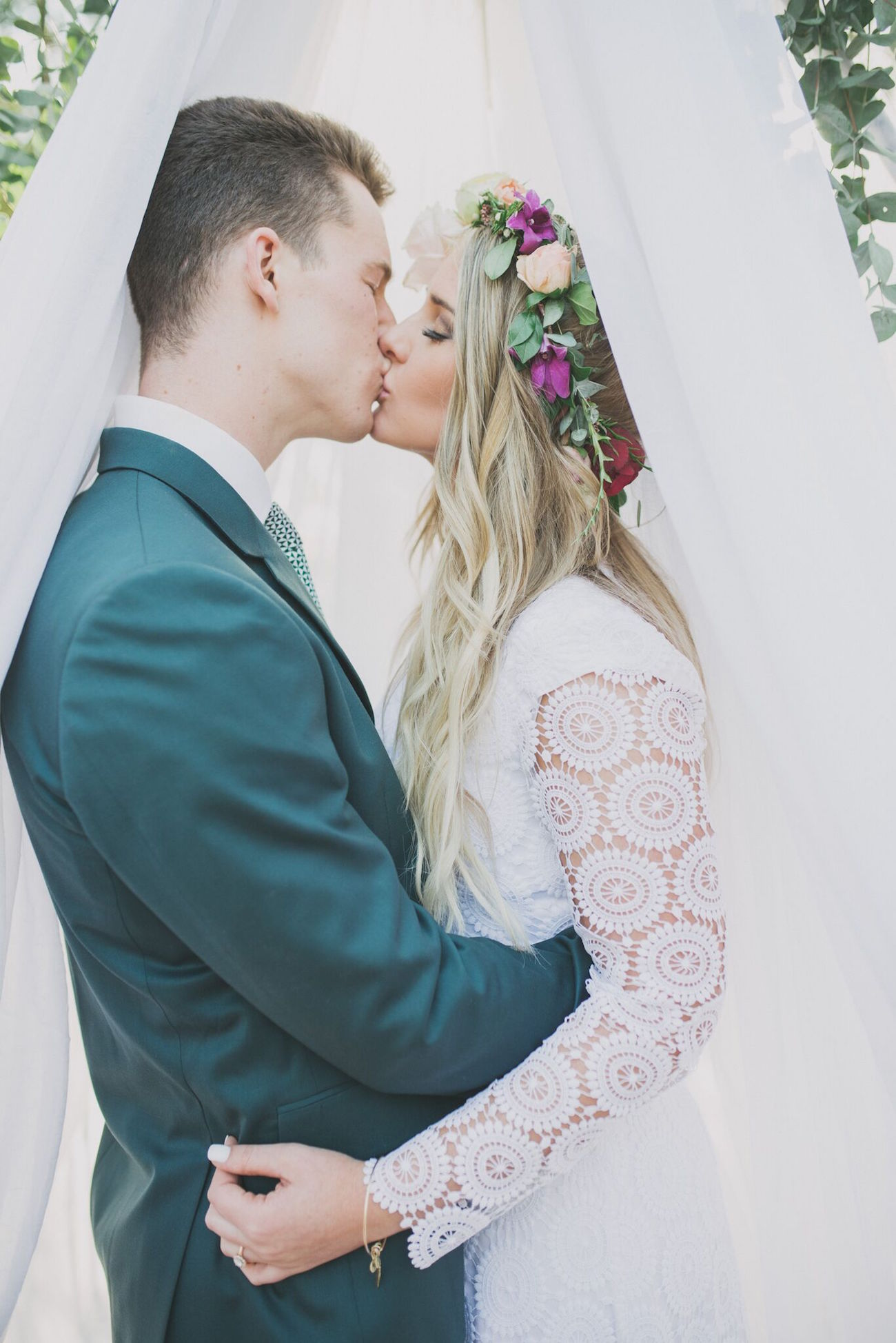 Lace Sleeve Boho Wedding Dress | Credit: Vicky Bergallo