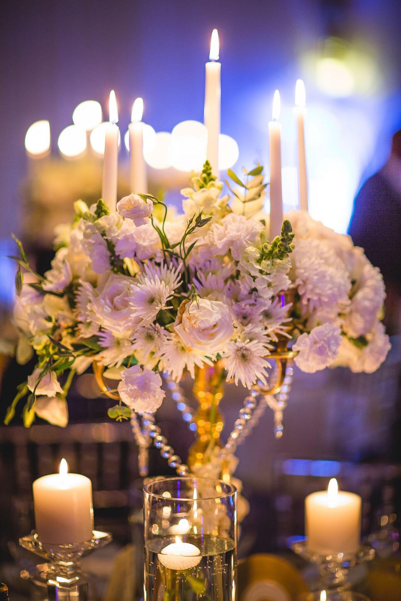 Opulent Ballroom Wedding Centerpiece | Image: Daryl Glass