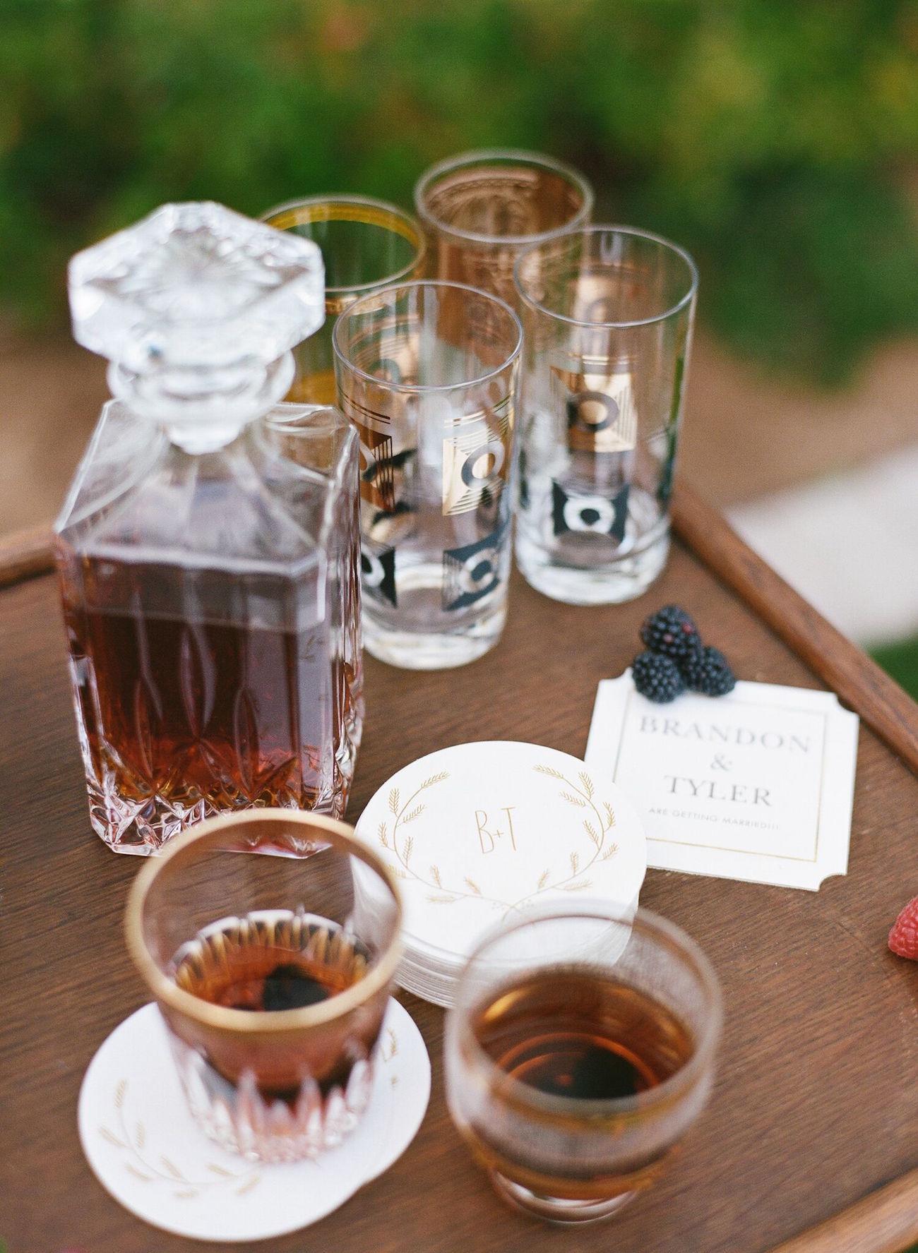 Custom Coasters Wedding Whisky Bar | Image: Katie Parra