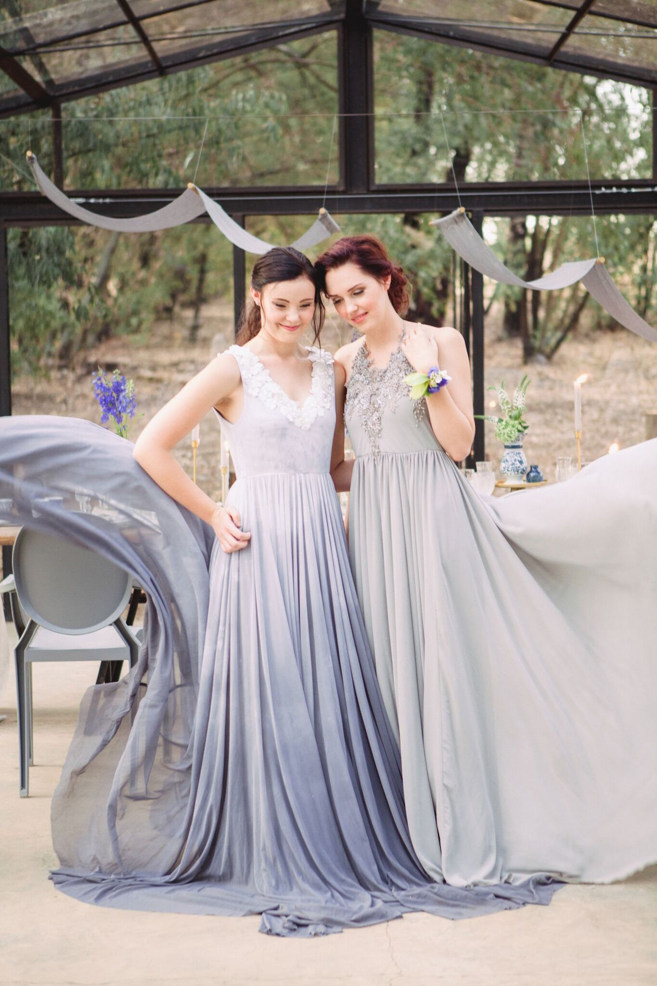 Silver Swallow Blue and Grey Wedding Dresses | Credit: Dust & Dreams Photography