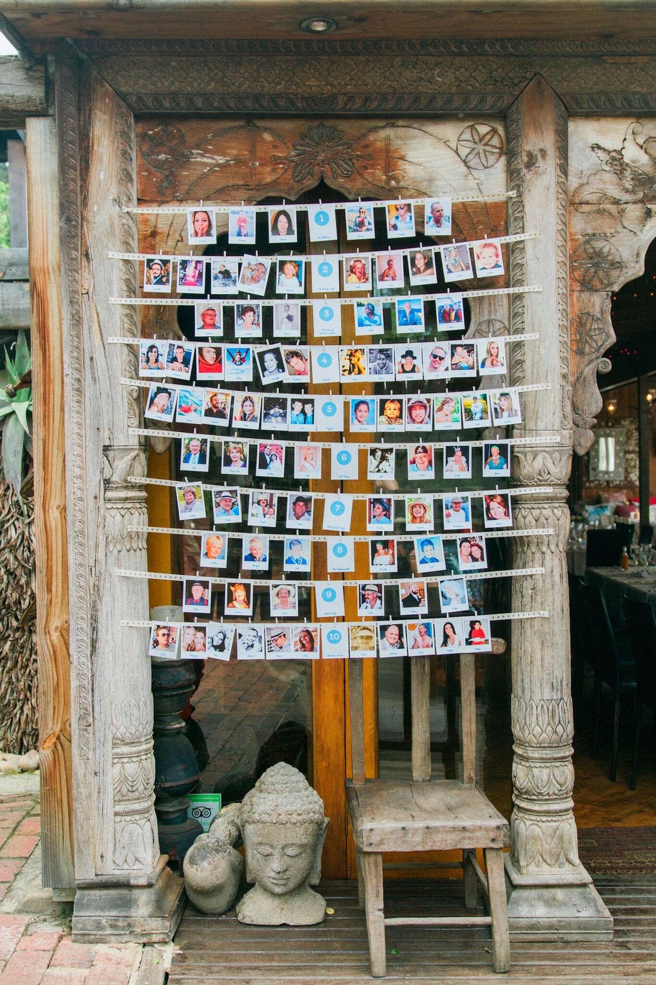 Polaroid Escort Card Display | Image: Maxeen Kim
