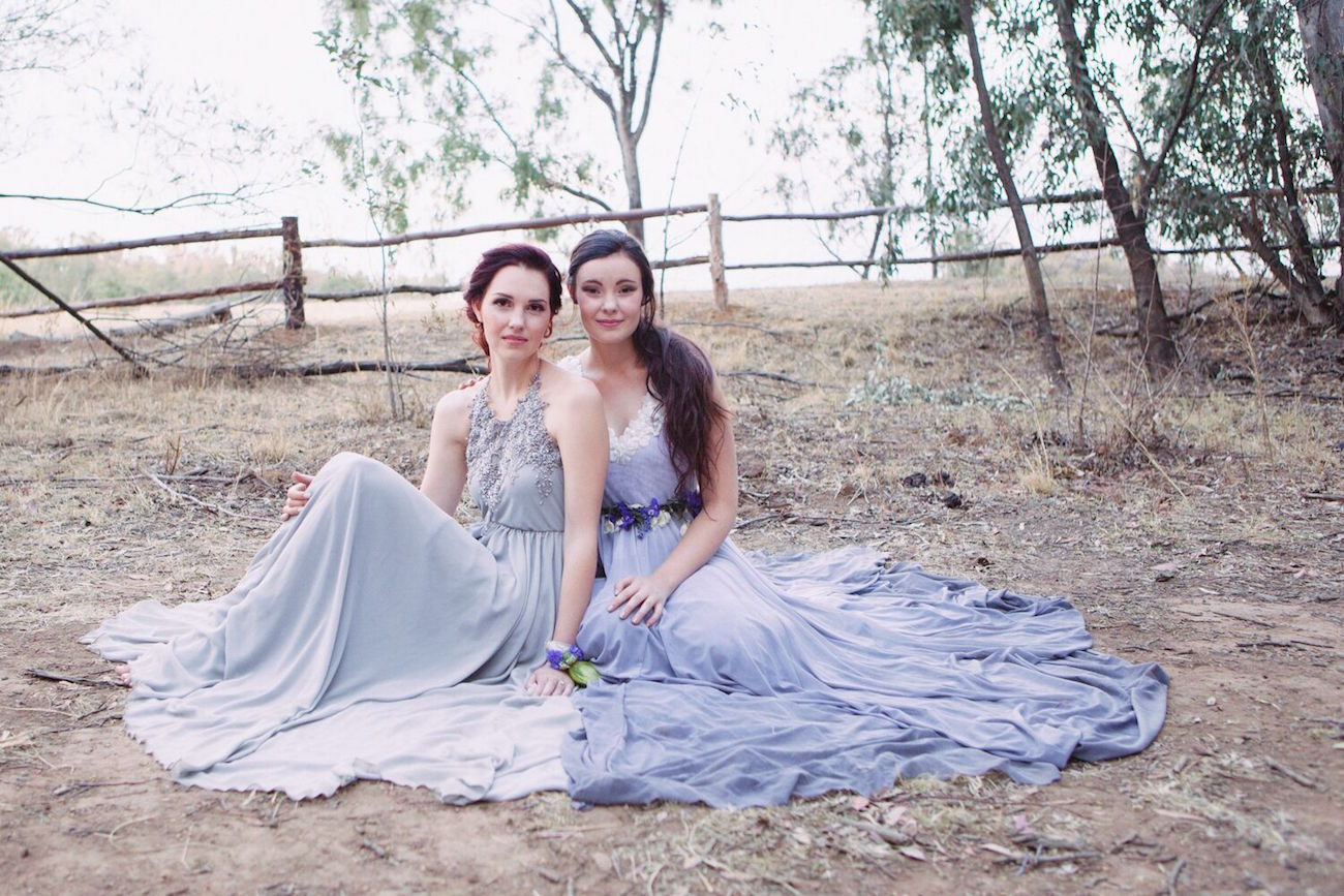 Blue Grey Wedding Dresses | Credit: Dust & Dreams Photography