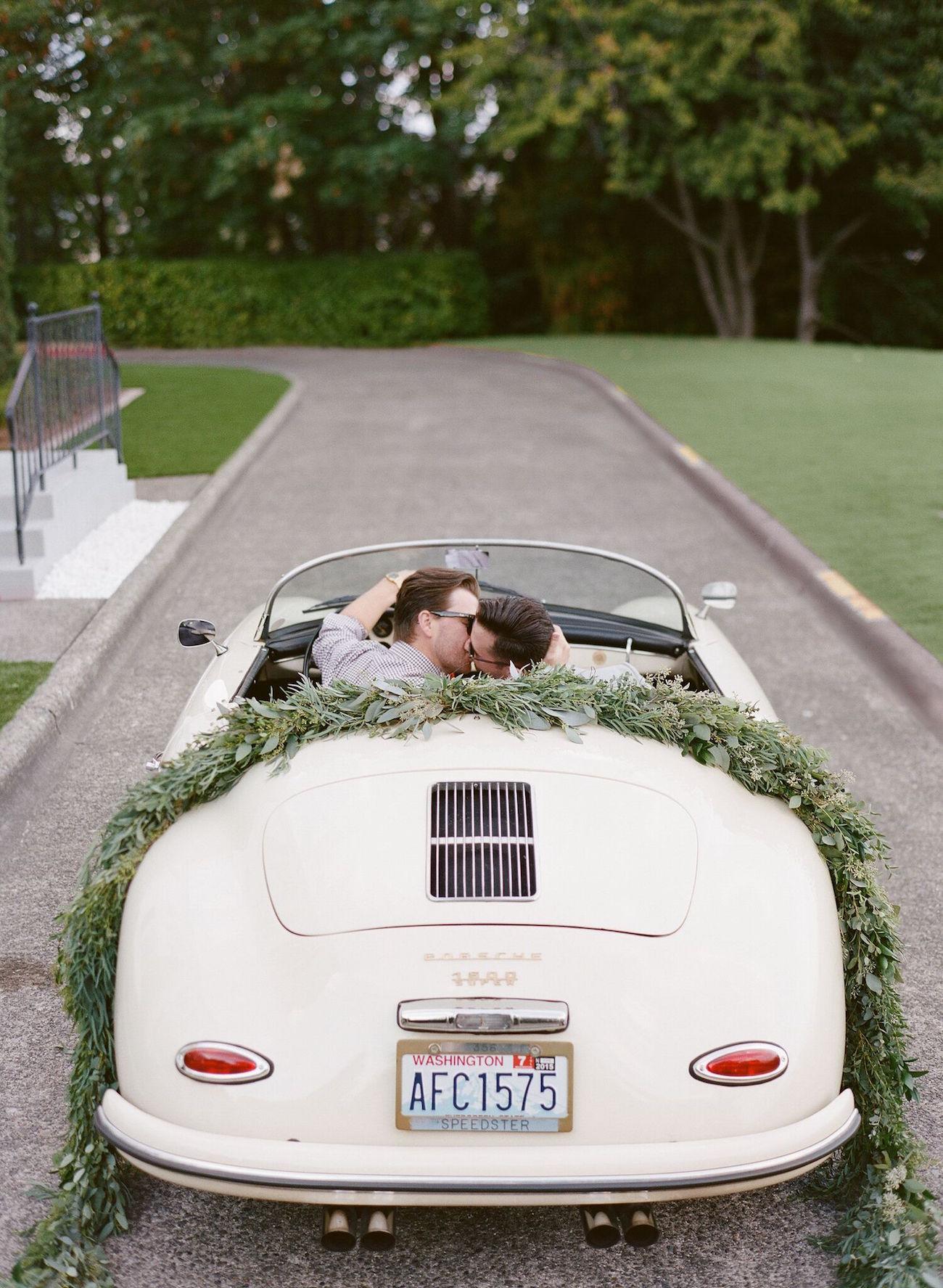 Porsche Wedding Getaway Car | Image: Katie Parra