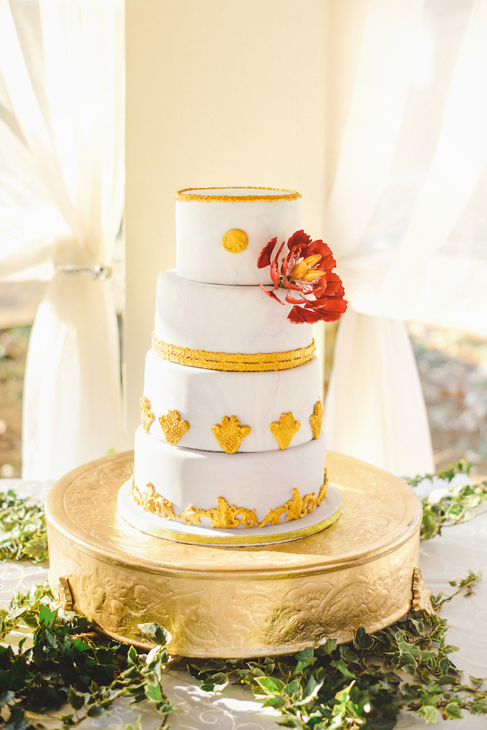 Gold Baroque Wedding Cake | Credit: Roxanne Davison