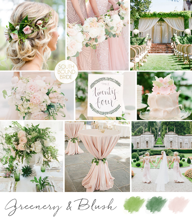 Pantone Greenery Inspiration Board: Greenery & Blush | SouthBound Bride