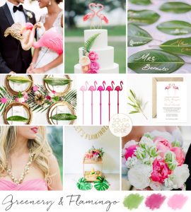 Pantone Greenery Inspiration Board: Greenery & Flamingo | SouthBound Bride